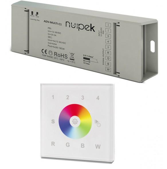 Controlador táctil de pared RGB+W por radio frecuencia 4 zonas SERIE ADVANCED